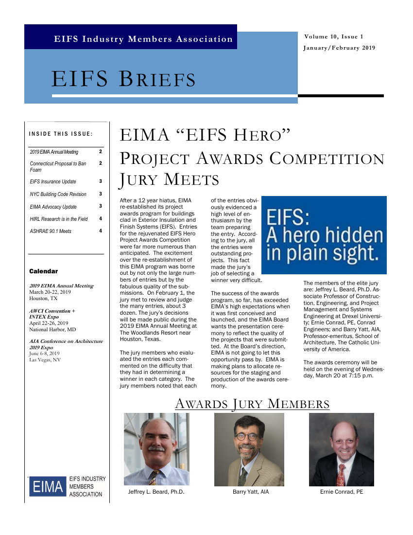 EIFS Briefs - Vol 10, Issue 1 - EIFS Industry Members Association - EIMA Newsletter