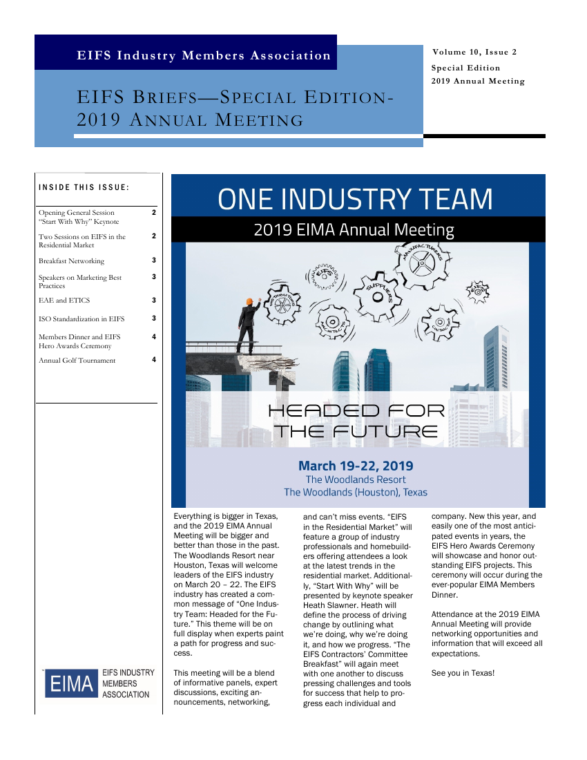 EIFS Briefs - Vol 10, Issue 2 - EIFS Industry Members Association - EIMA Newsletter