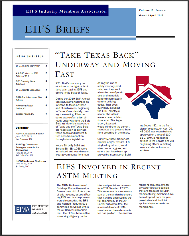 EIFS Briefs - Vol 10, Issue 4 - EIFS Industry Members Association - EIMA Newsletter