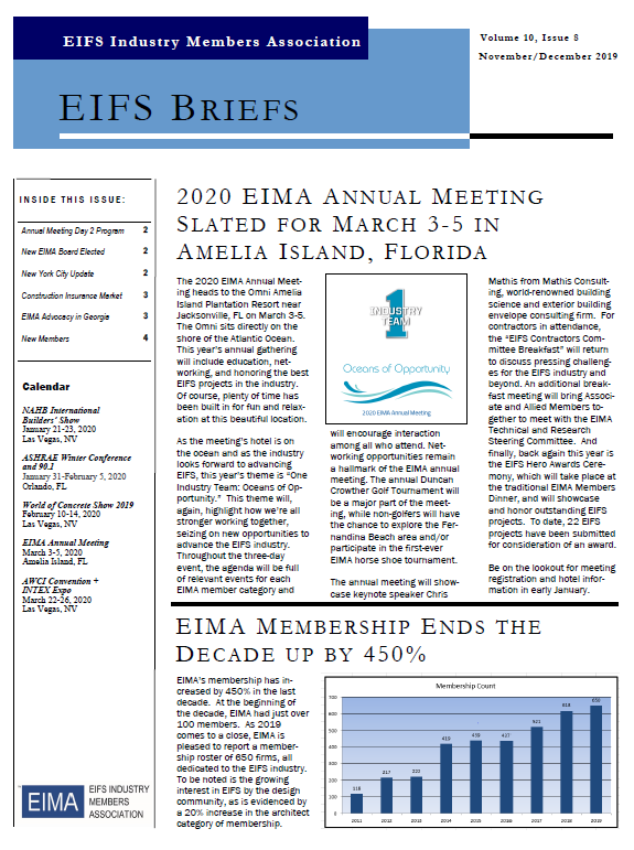 EIFS Briefs - Vol 10, Issue 8 - EIFS Industry Members Association - EIMA Newsletter