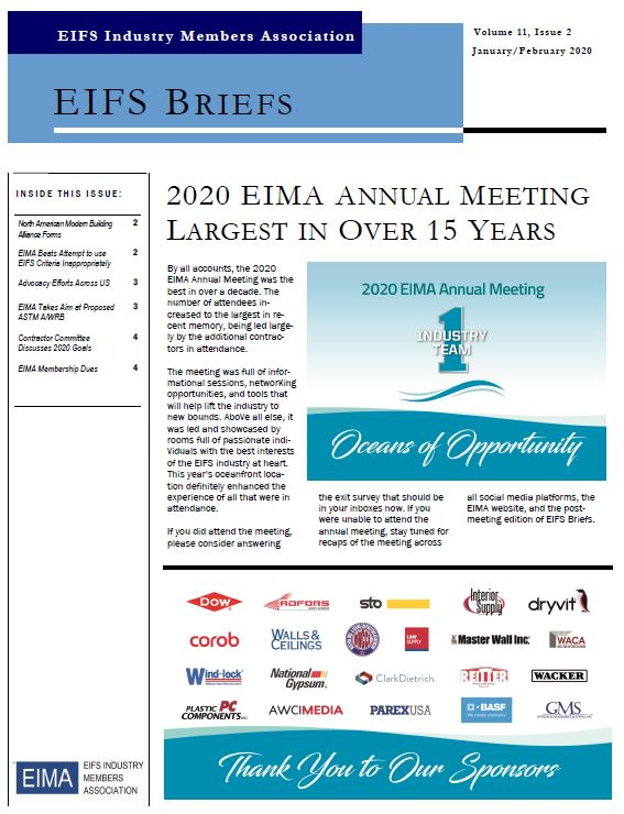 EIFS Briefs - Vol 11, Issue 2 - EIFS Industry Members Association - EIMA Newsletter