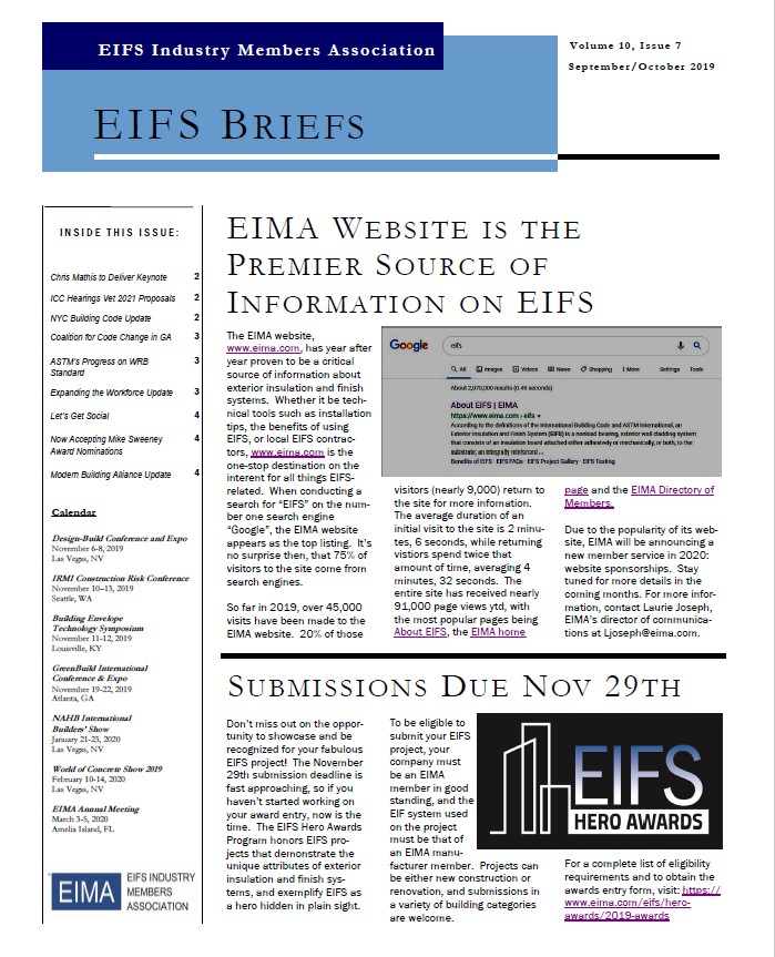 EIFS Briefs - Vol 10, Issue 7 - EIFS Industry Members Association - EIMA Newsletter
