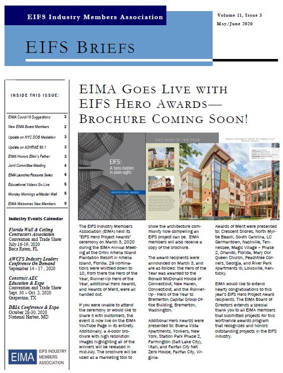EIFS Briefs - Vol 11, Issue 5 - EIFS Industry Members Association - EIMA Newsletter