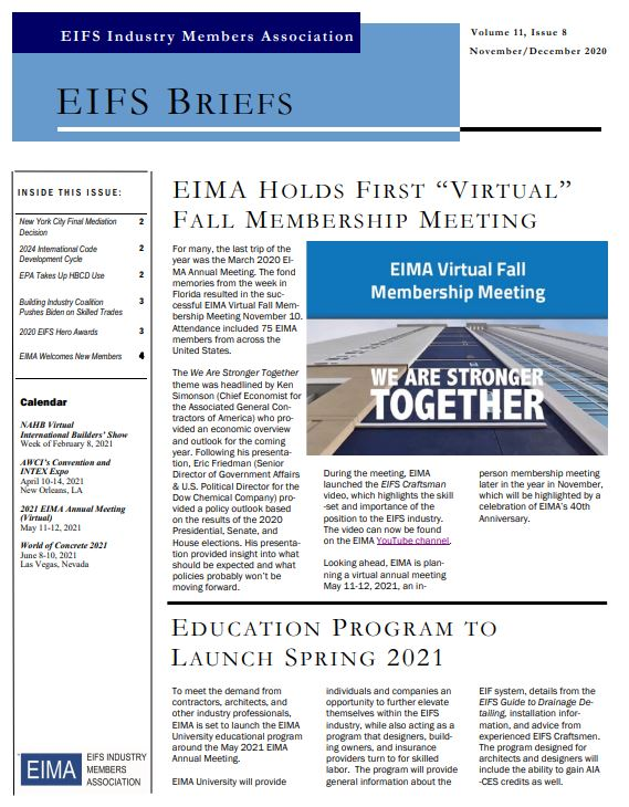 EIFS Briefs - Vol 11, Issue 8 - EIFS Industry Members Association - EIMA Newsletter